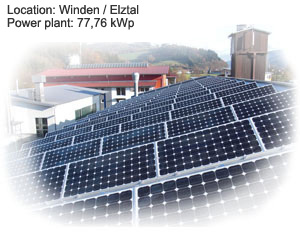 Photovoltaik Referenzanlage Winden Elztal 77,26 kWp build by Antaris